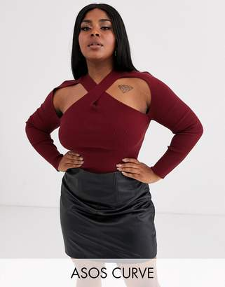Asos DESIGN Curve cut out cross over front ribbed jumper-Red