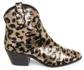 Betsey Johnson Pink Lucki Leopard-Print Embellished Booties