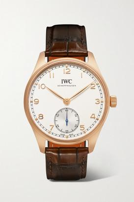 IWC SCHAFFHAUSEN Portugieser Automatic 40.4mm 18-karat Red Gold And Alligator Watch - Rose gold