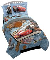 Disney Pixar Cars Tune Up Blue/Gray 4 Piece Twin Bed In A Bag with Lightning Mcqueen & Mater in Radiator Springs (Official Pixar Product)