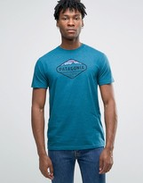 Patagonia T-shirt With Fitz Roy Crest Print In Slim Fit Blue