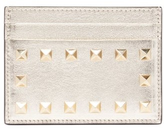 Valentino Rockstud Metallic Leather Cardholder - Womens - Gold