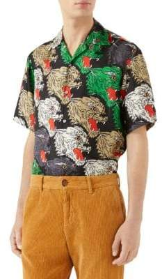 Gucci Panther Face Silk Twill Bowling Shirt