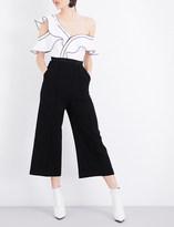 Self-Portrait Frilled cotton-blend jumpsuit
