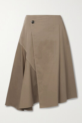 Acne Studios + Net Sustain Asymmetric Organic Cotton-blend Twill Wrap Skirt
