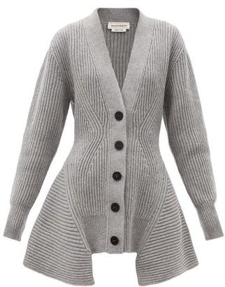 Alexander McQueen Peplum-hem Wool-blend Longline Cardigan - Grey