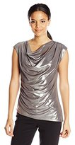 Calvin Klein Women's Sleeveless Metallic Drape Top