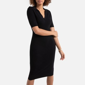 La Redoute Collections Ribbed Mid-Length Bodycon Dress with Shirt-Collar and Short Sleeves