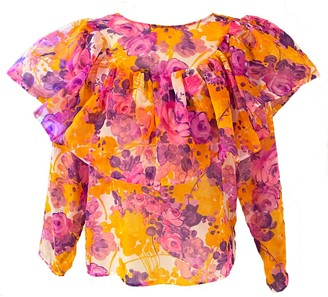One Imaginary Girl Sheer Neon Floral Print Ruffle Top In Vintage Fabric One Of A Kind