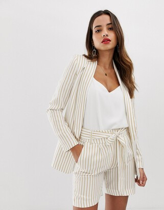 Morgan tailored blazer co-ord with pocket detail in mustard pinstripe-White