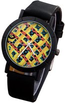 FeiFan Men's Stylish Mixed Color Round Check Dial Watch Fashion PU Leather Analog Quartz Watches