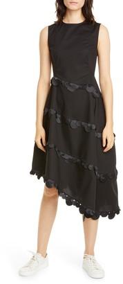 PASKAL clothes Dot Trim Asymmetrical Fit & Flare Dress