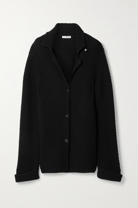 The Row Abely Embellished Ribbed Wool Cardigan - Black