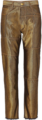 Marques Almeida Paneled Metallic High-rise Straight-leg Jeans