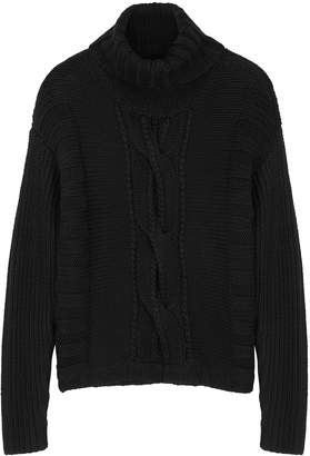 Duffy Black Cable-knit Merino Wool Jumper