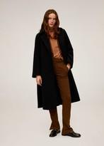 MANGO Belted wool coat black - S - Women