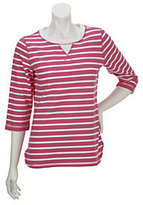 As Is Denim & Co. Active French Terry High-Low Hem Striped Top