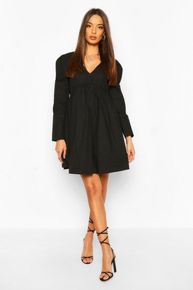 boohoo Cotton Puff Sleeve Smock Dress