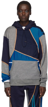 Ahluwalia Blue and Grey Patchwork Hoodie