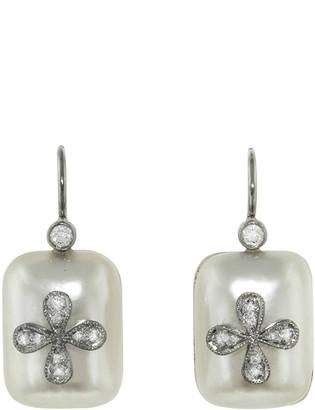 Cathy Waterman Mabe Pearl Four Petal Earrings - Platinum