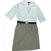 BCBGMAXAZRIA White And Khaki Shirt Dress