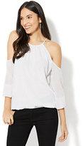 New York & Co. Cold-Shoulder Halter Blouse - Polka-Dot Print