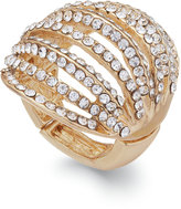 INC International Concepts Gold-Tone Crystal Pavandeacute; Multi-Row Stretch Ring