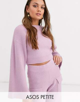 Asos DESIGN Petite two-piece cropped ribbed sweater with wide sleeve-Purple