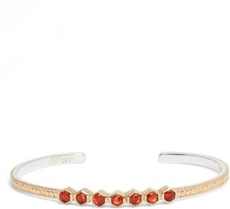 Anna Beck 18K Yellow Gold Plated Sterling Silver Geo Garnet Cuff Bracelet