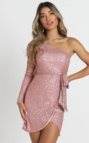 Showpo Louie One Shoulder Dress in blush sequin - 6 (XS) Hens Night