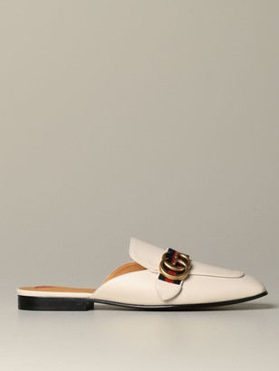 Gucci Peyton Slippers In Leather With Gg Buckle And Web Band