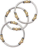 Nine West Tri-Tone 3-Pc. Set Metal Bangle Decorated Stretch Bracelets