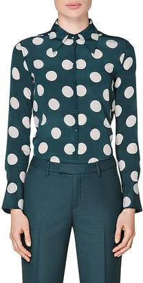 SUISTUDIO Alec Polka Dot Silk Blouse