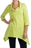 Neon Buddha Peace Cowl Tunic Shirt - Cotton Slub, 3/4 Sleeve (For Women)