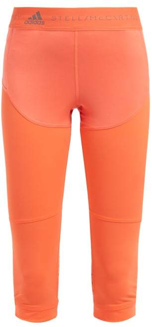 adidas by Stella McCartney Three Quarter Length Technical Running Leggings - Womens - Orange