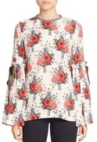 Mother of Pearl Silk Floral Top