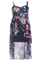 Quiz Curve Navy And Pink Floral Print Dip Hem Dress