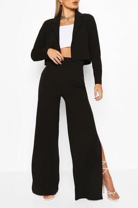 boohoo Crop Blazer & Split Wide Leg Trouser Suit Set