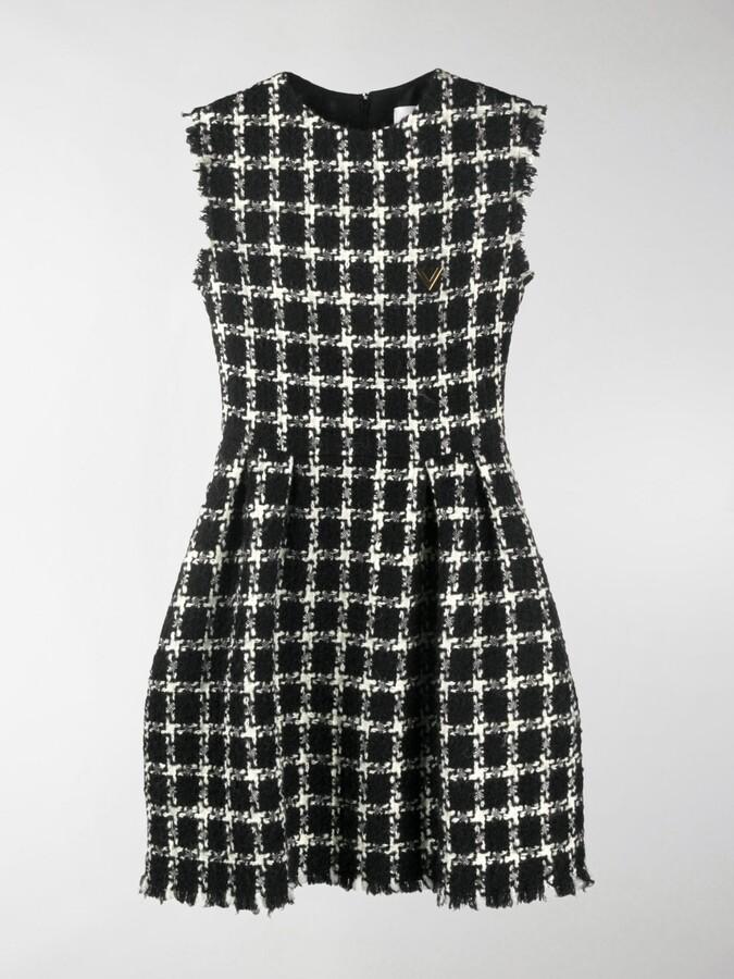 Valentino Tweed Checkered Sleeveless Dress