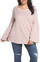 Plus Size Women's Caslon Bell Sleeve Sweatshirt