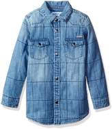 GUESS Big Boys' Long Sleeve Quilted Denim Shirt