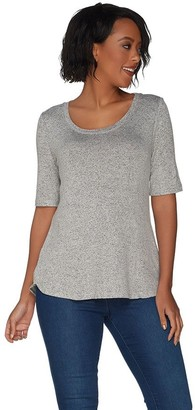 Halston H By H by Super Soft Knit Elbow Sleeve Top W/ Curved Hem