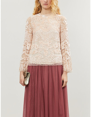 Needle And Thread Snowdrop sequin tulle top