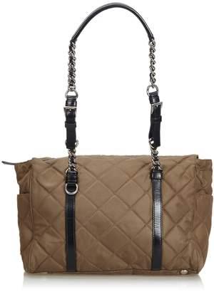 Prada Brown Quilted Tessuto Nylon Chain Shoulder Bag