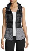 The North Face Pseudio Puffer Tunic Vest, Black/Dark Gray Heather