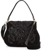 Ralph Lauren Beaded Velvet Messenger Bag, Black