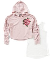 Xtraordinary Big Girls 7-16 Floral Embroidered Hoodie & Tank