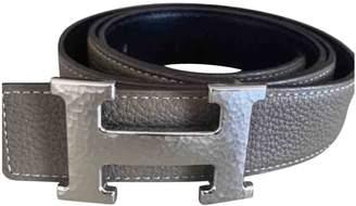 Hermes H Grey Leather Belts
