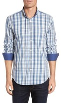 Bugatchi Men's Shaped Fit Plaid Sport Shirt