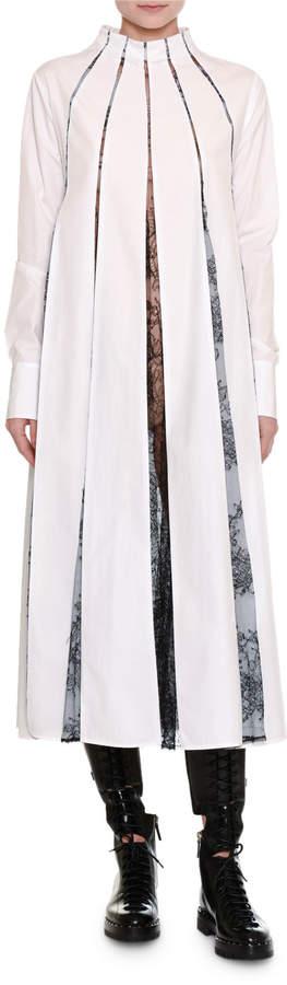Valentino Poplin Shirtdress w/Lace Panels